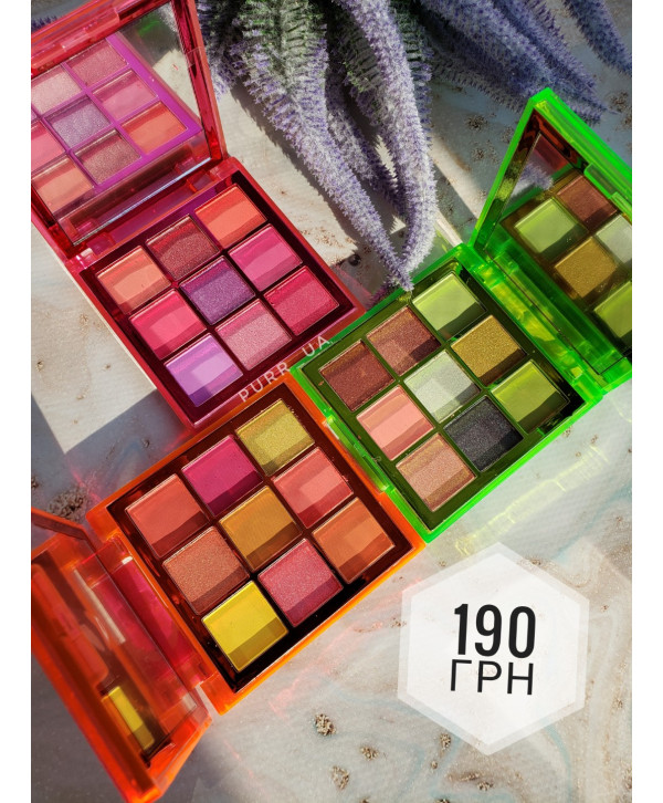 Палетка теней Huda Beauty Neon Green Orange Pink Obsessions