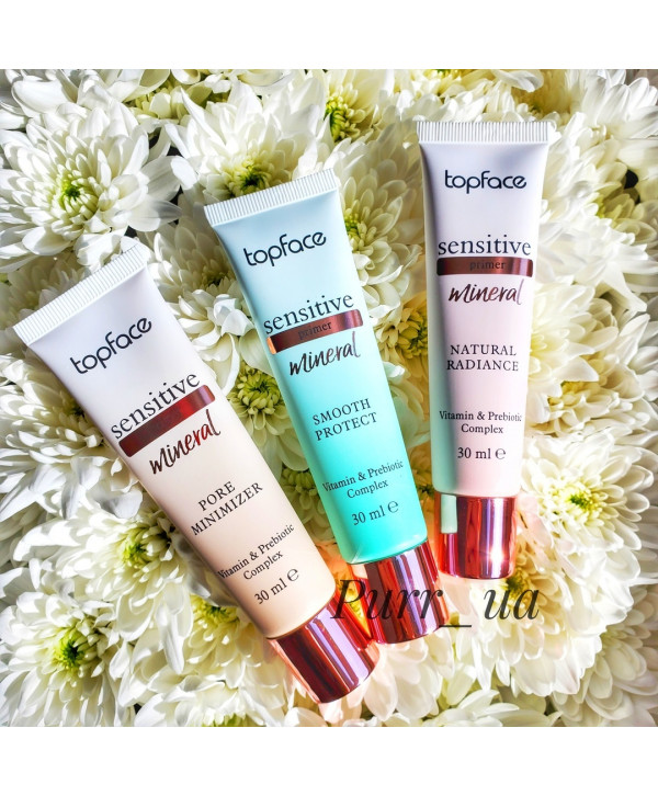 """Праймер от Topface """"Sensitive Mineral"""" PT567, № 001 Smooth Protect, № 002 Natural Radiance, № 003 Pore Minimizer, 30 мл"""